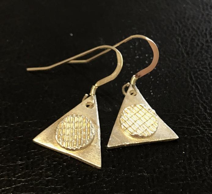 Geometric fine silver earrings